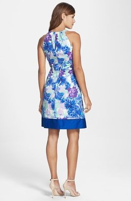 Eliza J Print Satin Fit & Flare Dress
