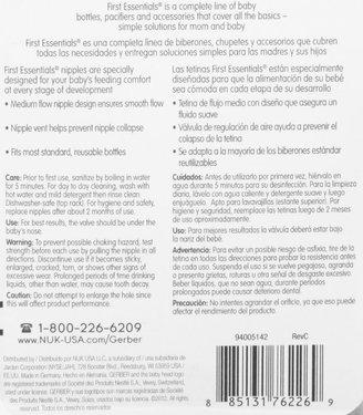 NUK Gerber First Essential Latex Nipples - 4+ mo - 6 Pk