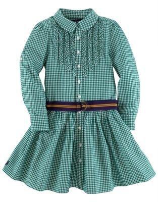 Ralph Lauren Girls 2-6x Gingham Shirtdress