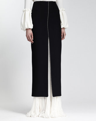Alexander McQueen Long Bead-Trimmed Leaf Crepe Skirt