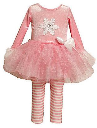 Bonnie Jean 2T-6X Snowflake-Appliqued Holiday Tutu-Skirted Dress & Striped Leggings Set
