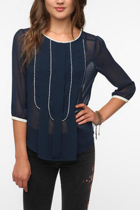 Urban Outfitters Pins and Needles Ruffle Bib Blouse