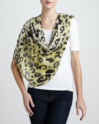 McQ by Alexander McQueen Leopard-Print Scarf, Pear/Yellow