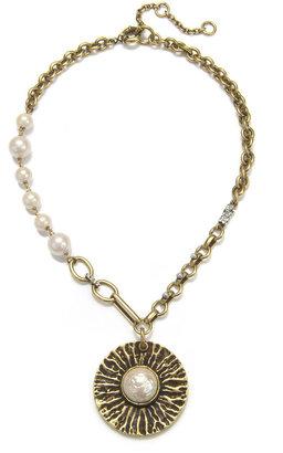 Gerard Yosca Pearl Medallion Necklace
