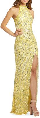 Mac Duggal High-Neck Sequin Column Gown