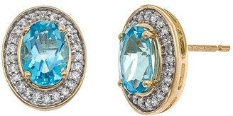 Yellora blue topaz & 1/4-ct. t.w. diamond oval halo stud earrings