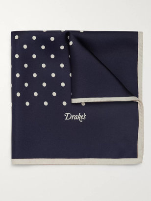 Drakes Polka-Dot Silk Pocket Square