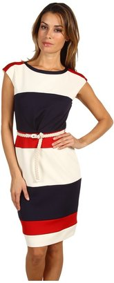 Maggy London Cap Sleeve Belted Techno Color Block Dress