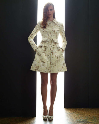 Alexander McQueen Pleated-Back Coat Dress, Cream/Sand
