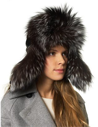 Borsalino Grey Fur Aviator Trapper Hat