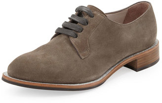 Brunello Cucinelli Suede Lace-Up Glitter Oxford, Charcoal