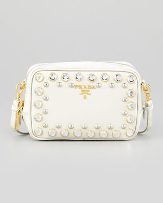 Prada Saffiano Studded Mini Zip Crossbody Bag, White