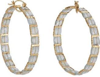 Nak Armstrong Aquamarine & Gold Hoop Earrings