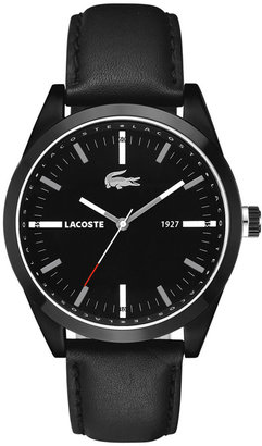 Lacoste Watch, Men's Montreal Black Leather Strap 44mm 2010598