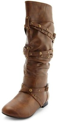 Charlotte Russe Studded Strappy Flat Boot