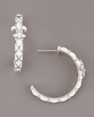 Zasha Fleur-de-Lis Hoop Earrings, White