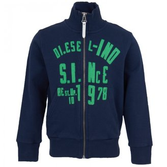 Diesel Navy Zip Through Sweatshirt