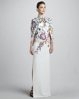 Etro Floral Caped Gown