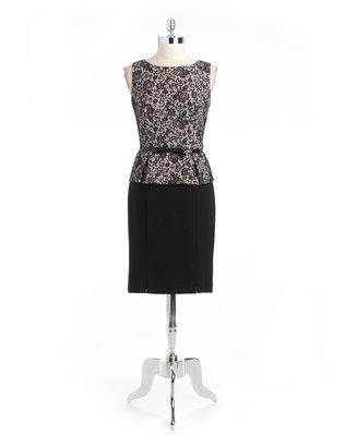 Kay Unger Lace Peplum Sheath Dress
