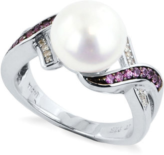 Honora Fresh by Sterling Silver Ring, Cultured Freshwater Pearl, Pink Sapphire Accent and Diamond Accent Ring