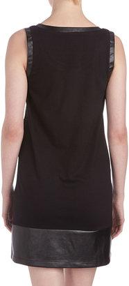 Neiman Marcus Leather-Trim Lace Shift Dress, Black