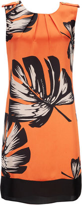 Wallis Orange Leaf Print Shift Dress