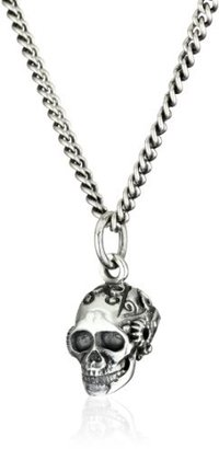 "King Baby Studio Industrial Romance"" Men's Small Victorian Gear Skull Pendant Necklace"