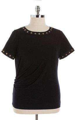 MICHAEL Michael Kors Studded Trim Short-Sleeved Top