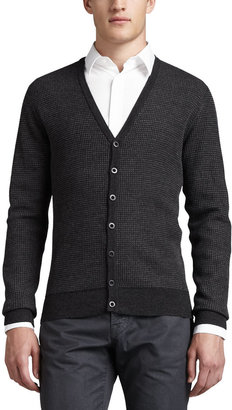 Vince Striped Thermal Cardigan, H.Coal