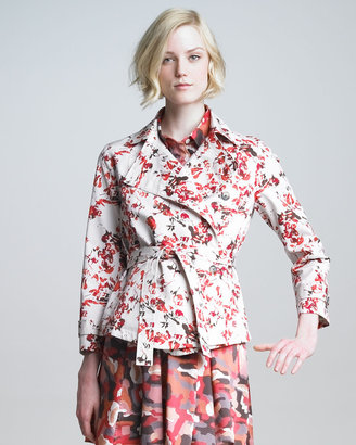 Thakoon Belted Floral-Print Jacket