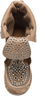 Isabel Marant Mossa Rivet Calfskin Velvet Leather Moccassin Booties