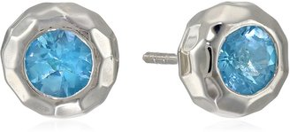 """Zina Sterling Silver """"Sahara Collection"""" Ripple Textured with Blue Topaz Stud Earrings"""
