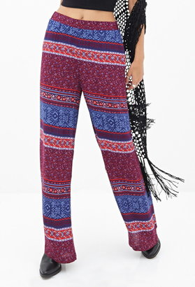 Forever 21 Floral Striped Wide-Leg Pants