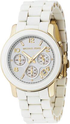 Michael Kors Women's Chronograph Runway White Polyurethane and Gold-Tone Bracelet Watch MK5145