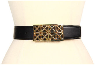 """Vince Camuto 1 1/2"""" Cut Out Metal Buckle On Nappa Panel"""