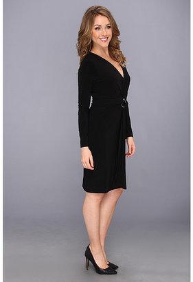 Nine West Lightweight Matte Jersey L/S Faux Wrap w/ Asymmetrical Hem Dress