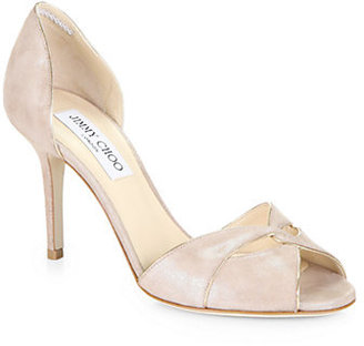 Jimmy Choo Lydia Metallic Suede & Mirror Leather d'Orsay Pumps