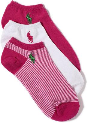 Lauren Ralph Lauren Socks, Feed Stripe Ped 3 Pack