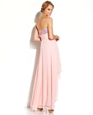 Adrianna Papell Hailey Logan by Juniors' Strapless Sequin High-Low Dress