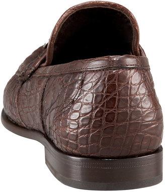 Salvatore Ferragamo Crocodile Bit Loafer, Brown