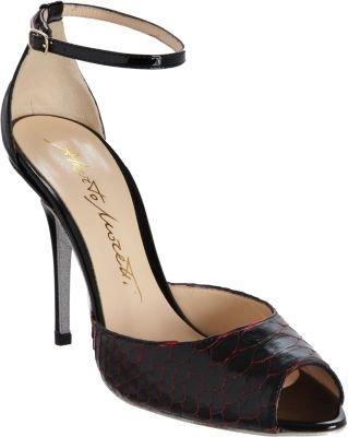PeepToe Alberto Moretti Python Two-Piece Glitter Sole Sandal