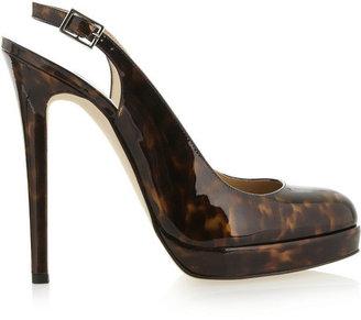 Oscar de la Renta Tortoiseshell-effect patent-leather slingbacks