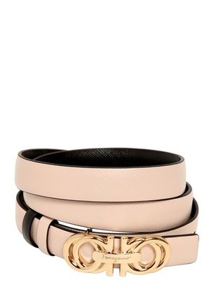 Salvatore Ferragamo 20mm Saffiano Leather Reversible Belt