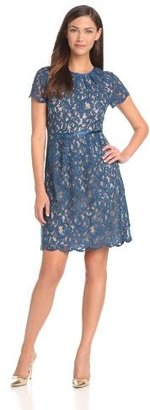 Adrianna Papell Women's Pleated Scalloped Lace Dress