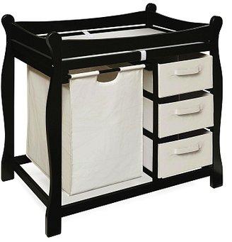 Badger Basket Company Changing Table with Hamper/ 3 Baskets - Black