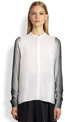 Ohne Titel Geometric-Print Silk Blouse