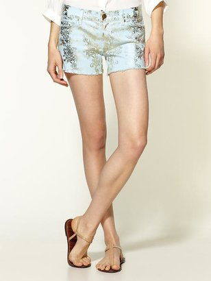 7 For All Mankind Brocade Foil Block Print Shorts