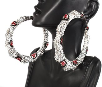 Silver with Red Iced Out Lady Gaga Pincatch Hoop Earrings Mov Wives Poparazzi