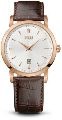 HUGO BOSS '1512634' | Brown Crocodile Embossed Leather Strap Watch by BOSS