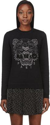 Kenzo Black & Silver Tiger-Embroidered Sweatshirt